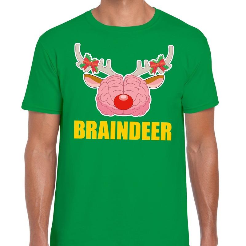 Foute Kerstmis t-shirt braindeer groen voor heren L Rood