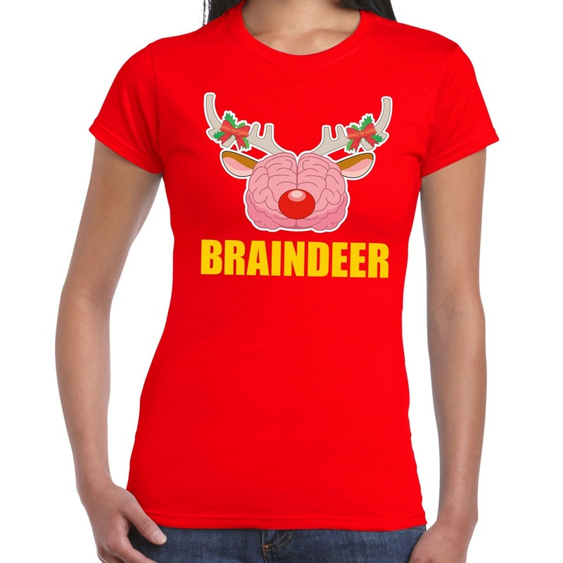 Foute Kerstmis t-shirt braindeer rood voor dames L (40) Rood