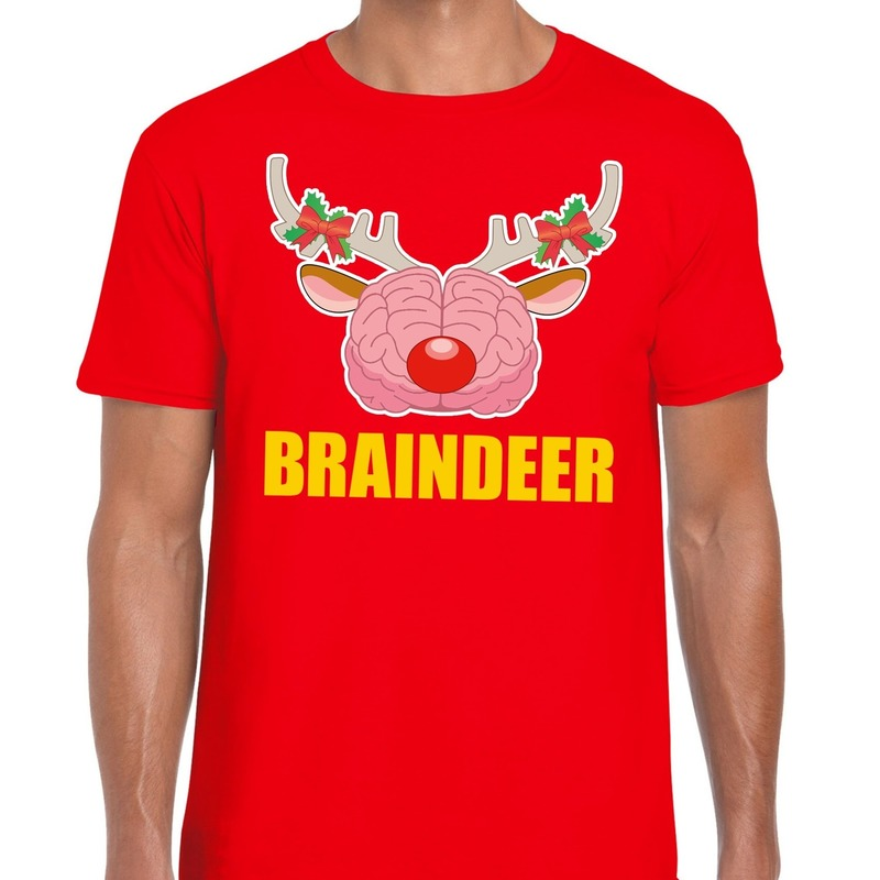Foute Kerstmis t-shirt braindeer rood voor heren L Rood