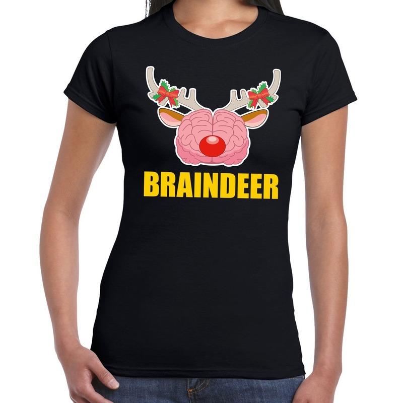Foute Kerstmis t-shirt braindeer zwart voor dames L (40) Zwart