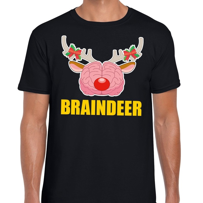 Foute Kerstmis t-shirt braindeer zwart voor heren L Zwart