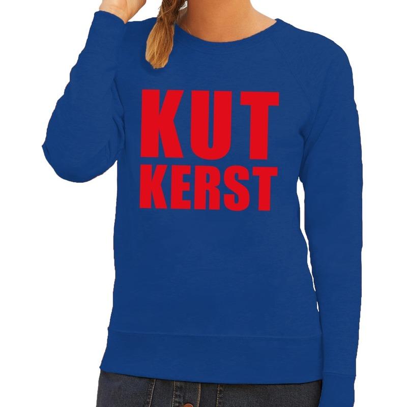Foute kersttrui blauw Kutkerst dames M (38) Blauw