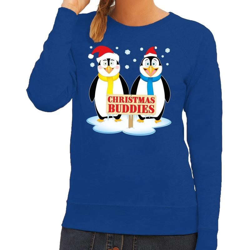 Foute kersttrui blauw met 2 pinguins voor dames L (40) Blauw