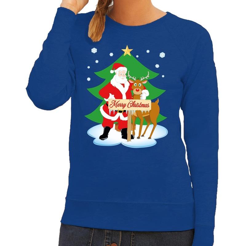 Foute kersttrui blauw met de kerstman en Rudolf voor dames L (40) Blauw
