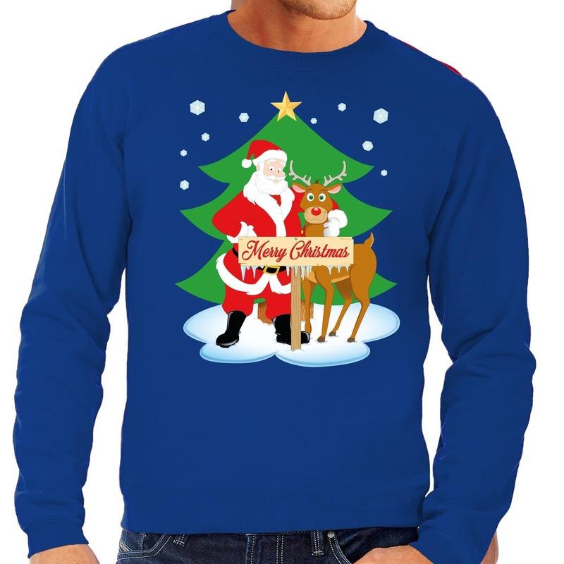 Foute kersttrui blauw met de kerstman en Rudolf voor heren L (52) Blauw