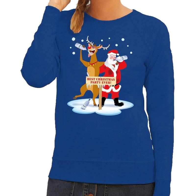 Foute kersttrui blauw met een dronken kerstman en Rudolf voor dames 2XL (44) Blauw