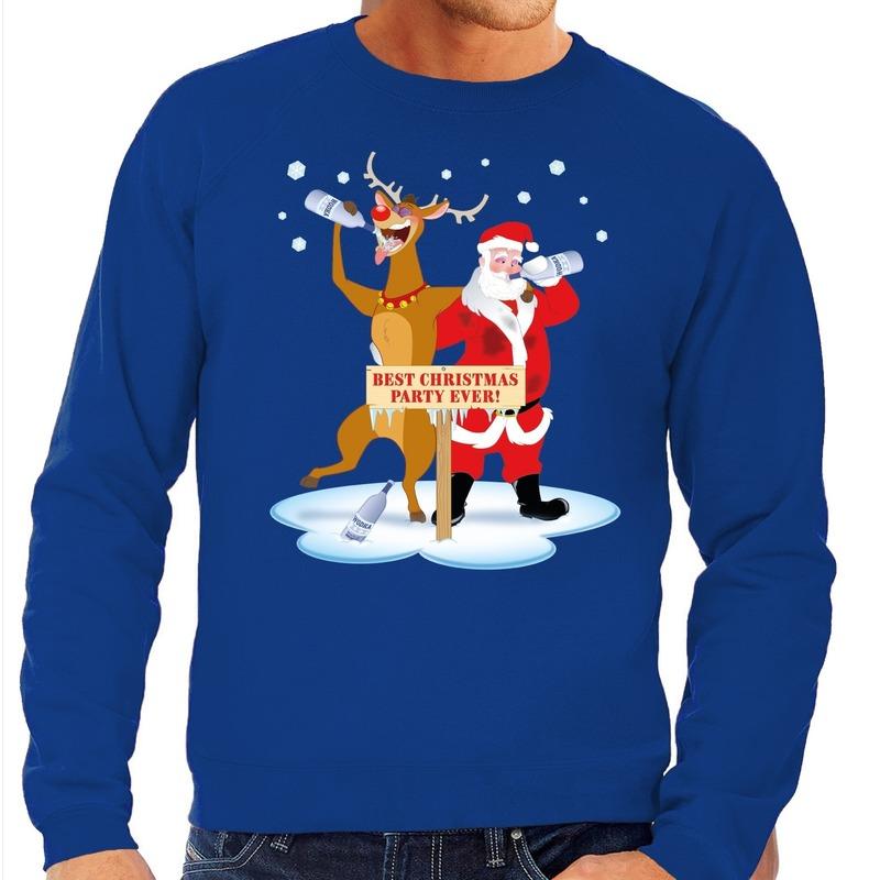 Foute kersttrui blauw met een dronken kerstman en Rudolf voor heren 2XL (56) Blauw