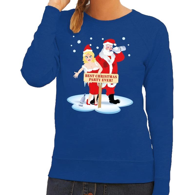 Foute kersttrui blauw met een dronken kerstman en zijn vrouw voor dames S (36) Blauw