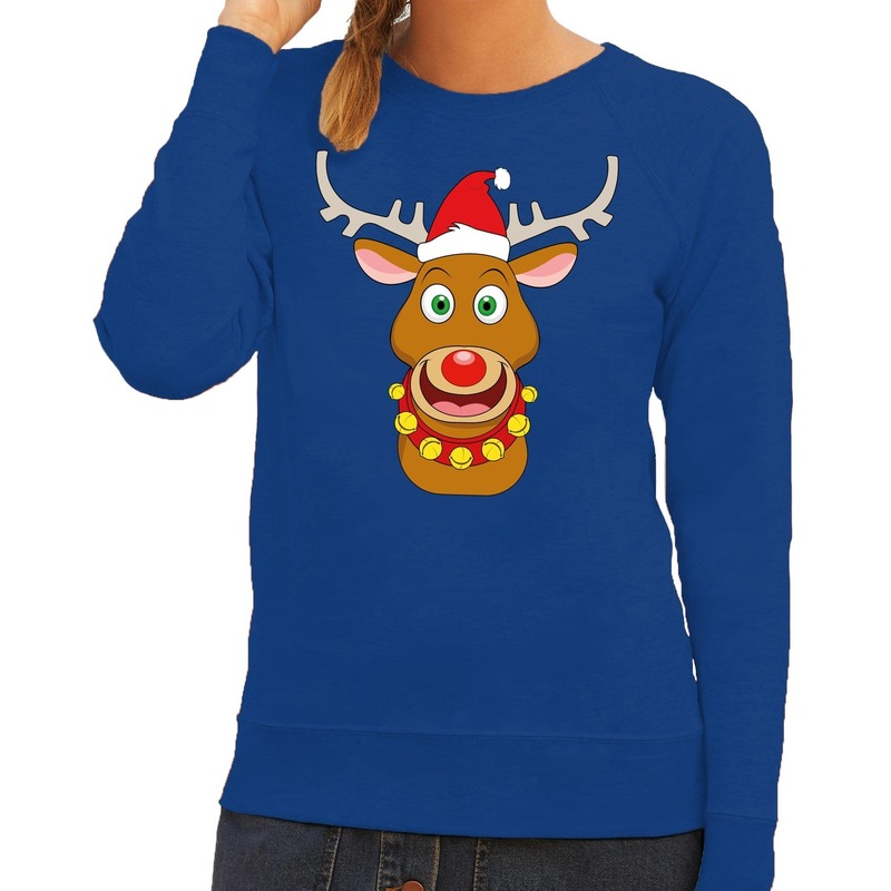Foute kersttrui blauw met Ruldolf het rendier met rode muts voor dames S (36) Blauw