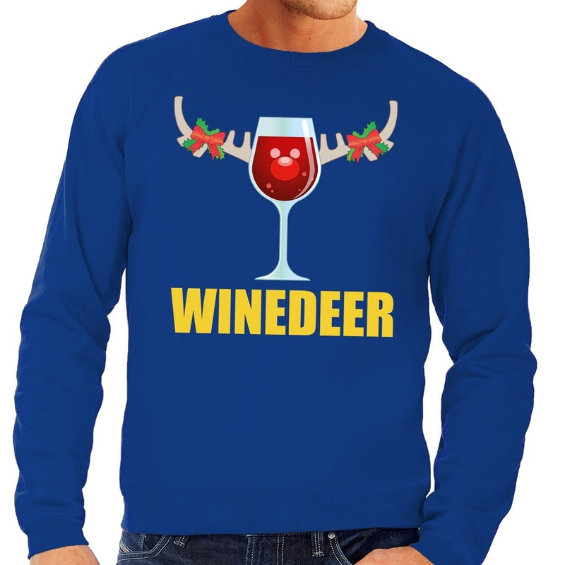 Foute kersttrui blauw met wijntje heren XL (54) Blauw