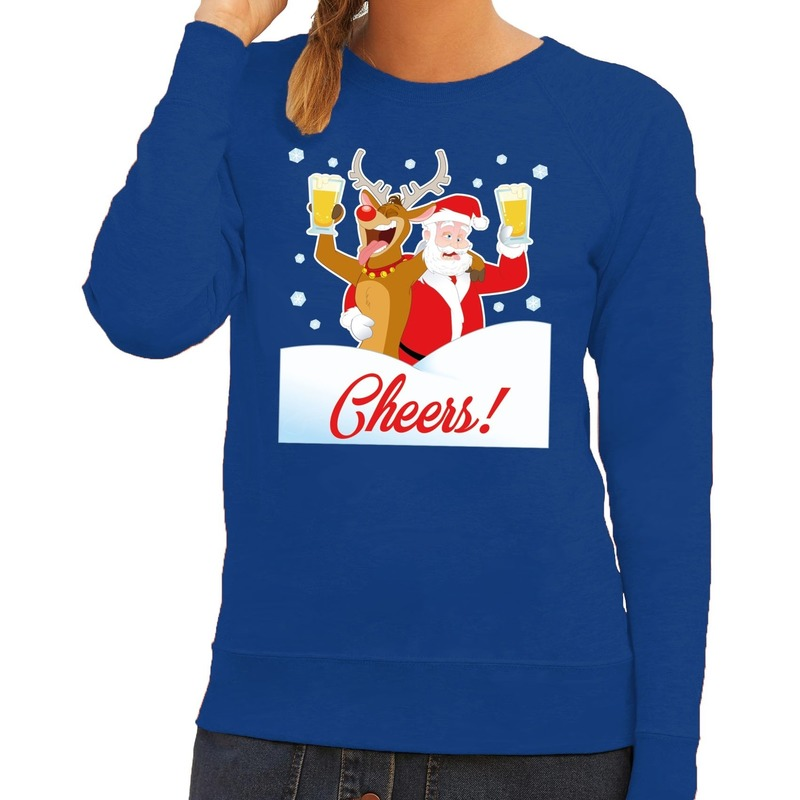 Foute kersttrui cheers met dronken kerstman en Rudolf voor dames XS (34) Blauw