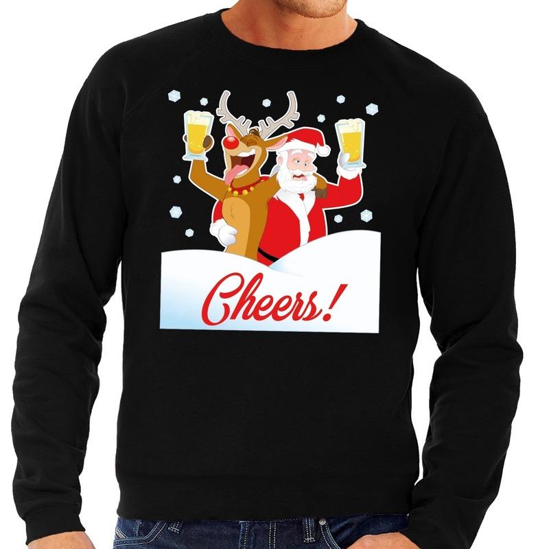 Foute kersttrui cheers met dronken kerstman en Rudolf voor heren XL (54) Zwart