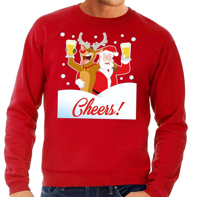 Foute kersttrui cheers met dronken kerstman en Rudolf voor heren S (48) Rood