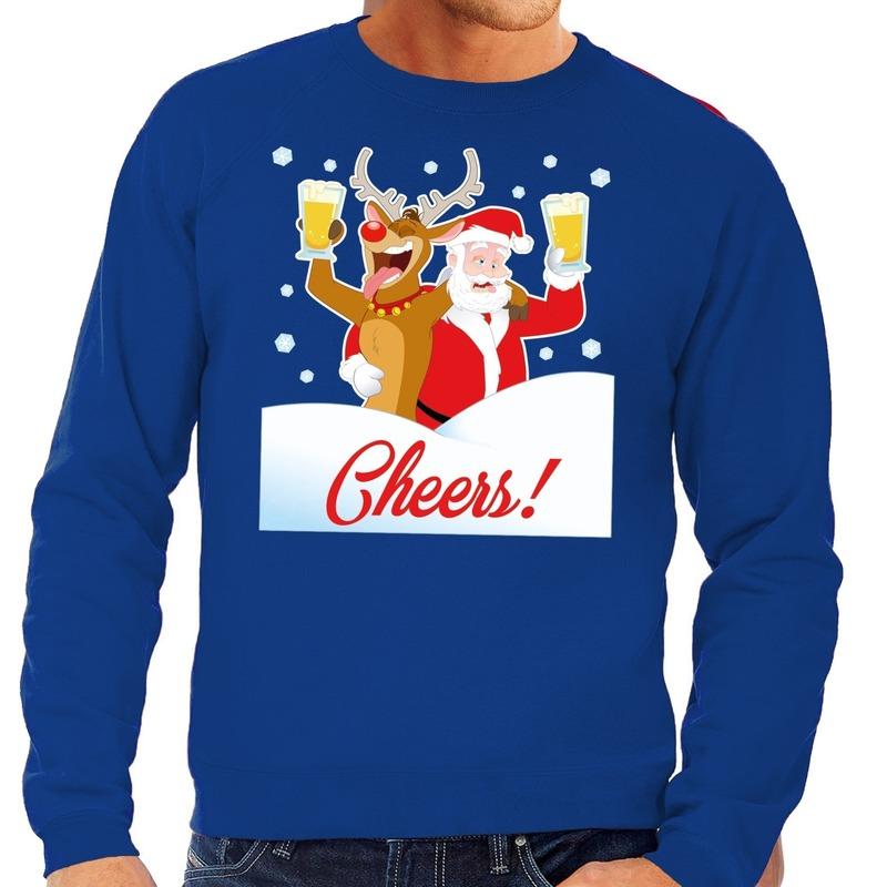 Foute kersttrui cheers met dronken kerstman en Rudolf voor heren S (48) Blauw