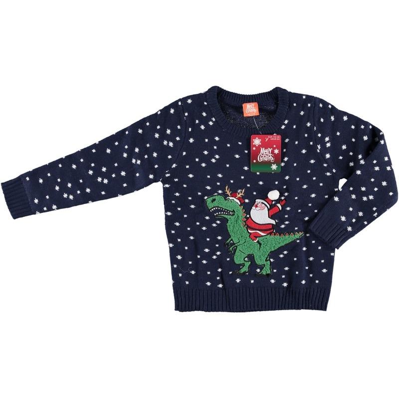 Foute kersttrui donkerblauw kerstman op dino voor kinderen 152/164 (12/13 jaar) Blauw