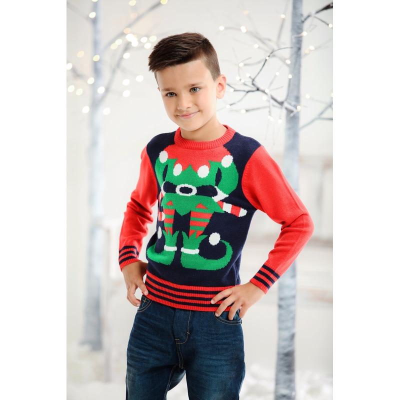 Foute kersttrui elfje voor kids 3/4 jaar (104/110) Multi