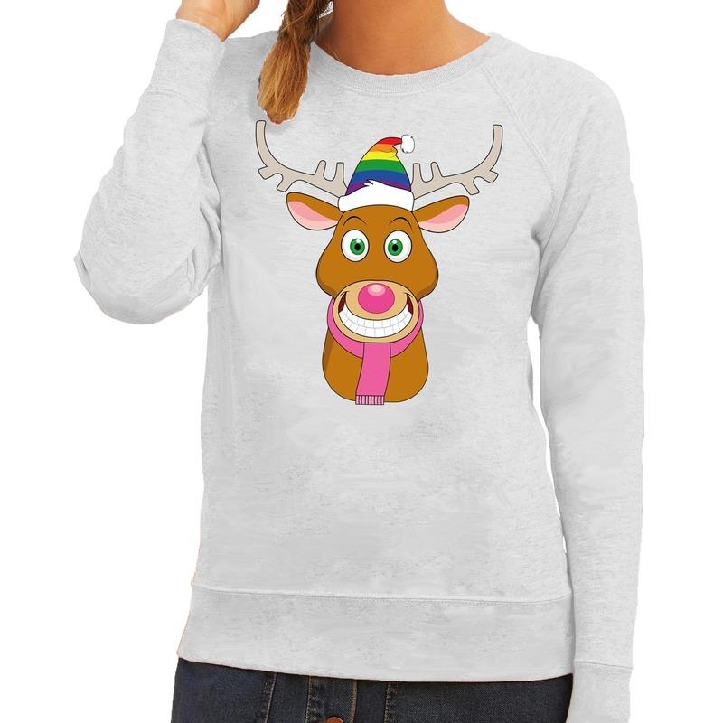 Foute kersttrui grijs Gay Ruldolf regenboog muts en roze sjaal voor dames 2XL (44) Grijs