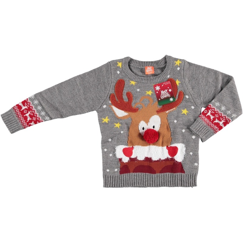 Foute kersttrui grijs rendier voor kinderen 92/98 (2/3 jaar) Grijs