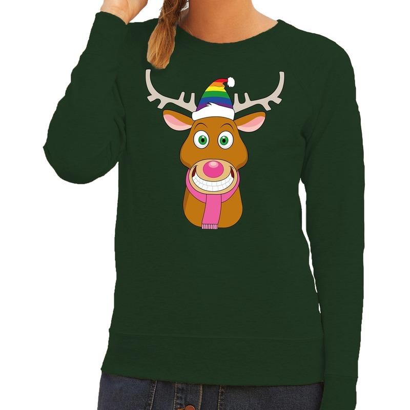 Foute kersttrui groen Gay Ruldolf regenboog muts en roze sjaal voor dames L (40) Groen