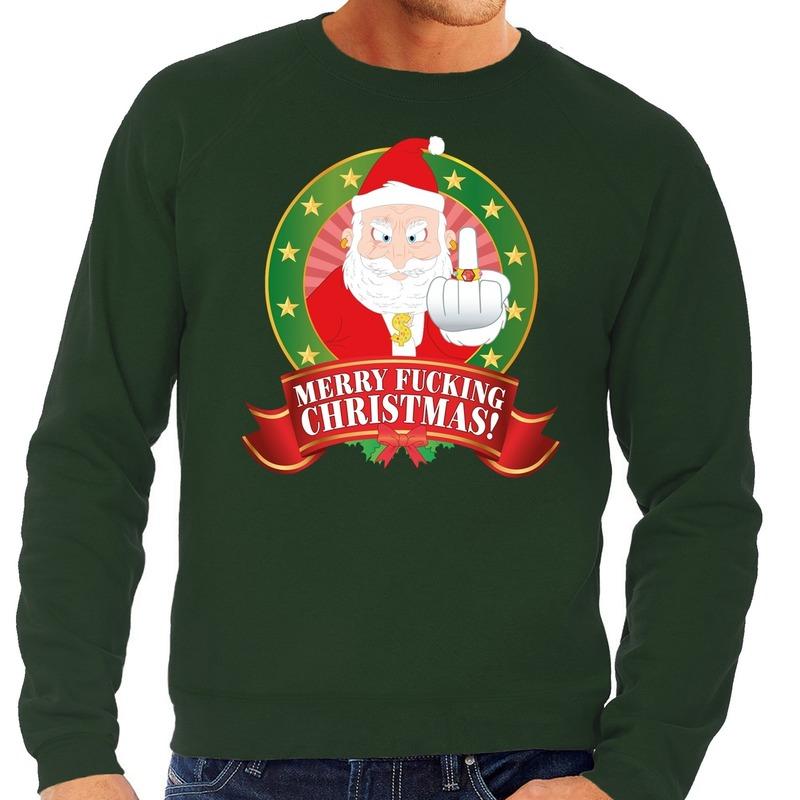 Foute kersttrui groen Kerstman met middelvinger Merry Fucking Christmas heren XL (54) Groen