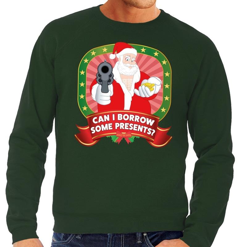 Foute kersttrui groen Kerstman met pistool Can I Borrow Some Presents heren S (48) Groen