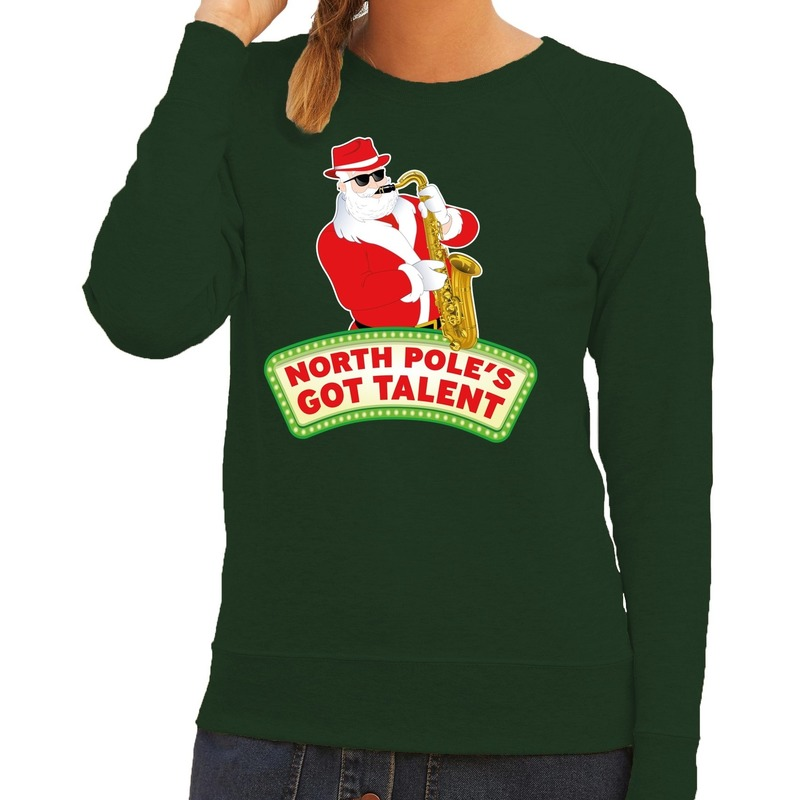Foute kersttrui groen Kerstman met saxofoon dames S (36) Groen