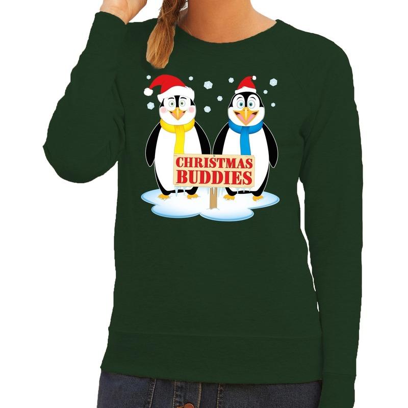 Foute kersttrui groen met 2 pinguins voor dames S (36) Groen