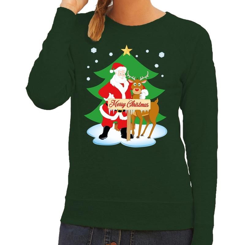 Foute kersttrui groen met de kerstman en Rudolf voor dames L (40) Groen