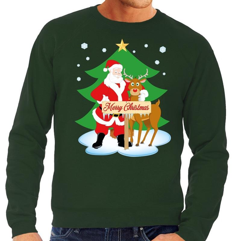 Foute kersttrui groen met de kerstman en Rudolf voor heren S (48) Groen
