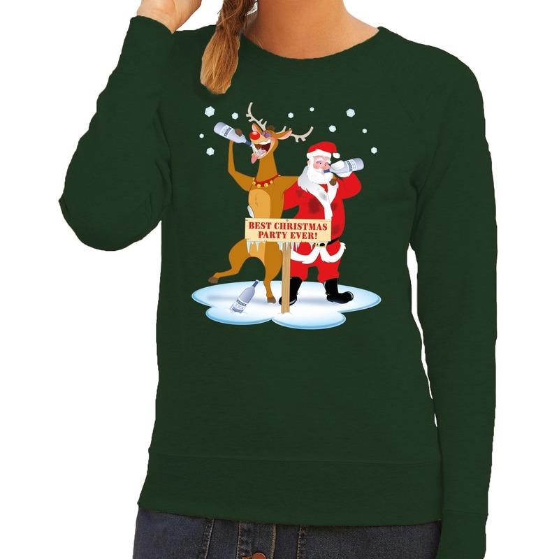 Foute kersttrui groen met een dronken kerstman en Rudolf voor dames S (36) Groen