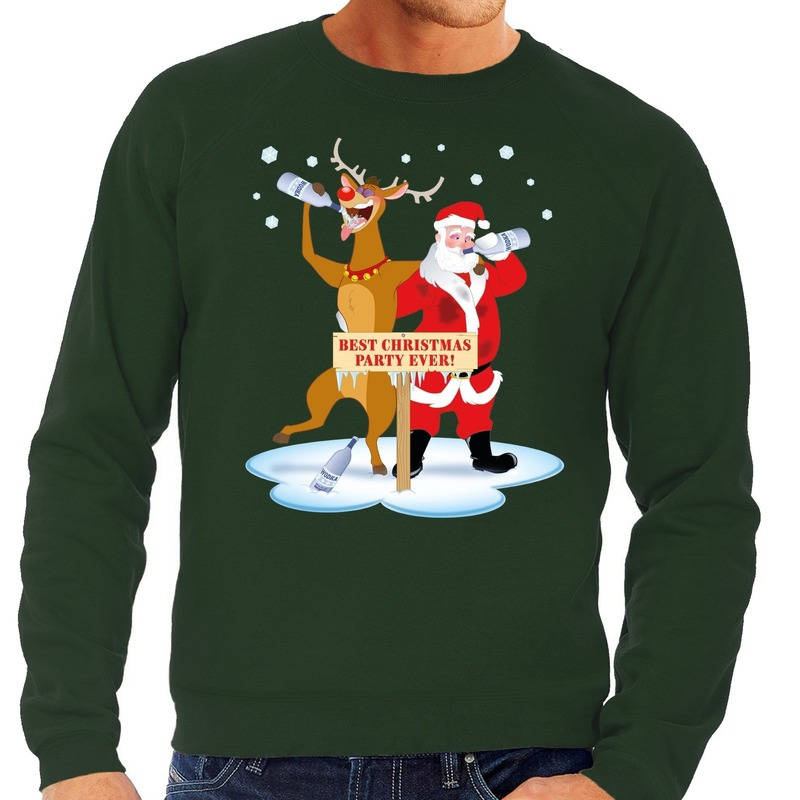 Foute kersttrui groen met een dronken kerstman en Rudolf voor heren XL (54) Groen