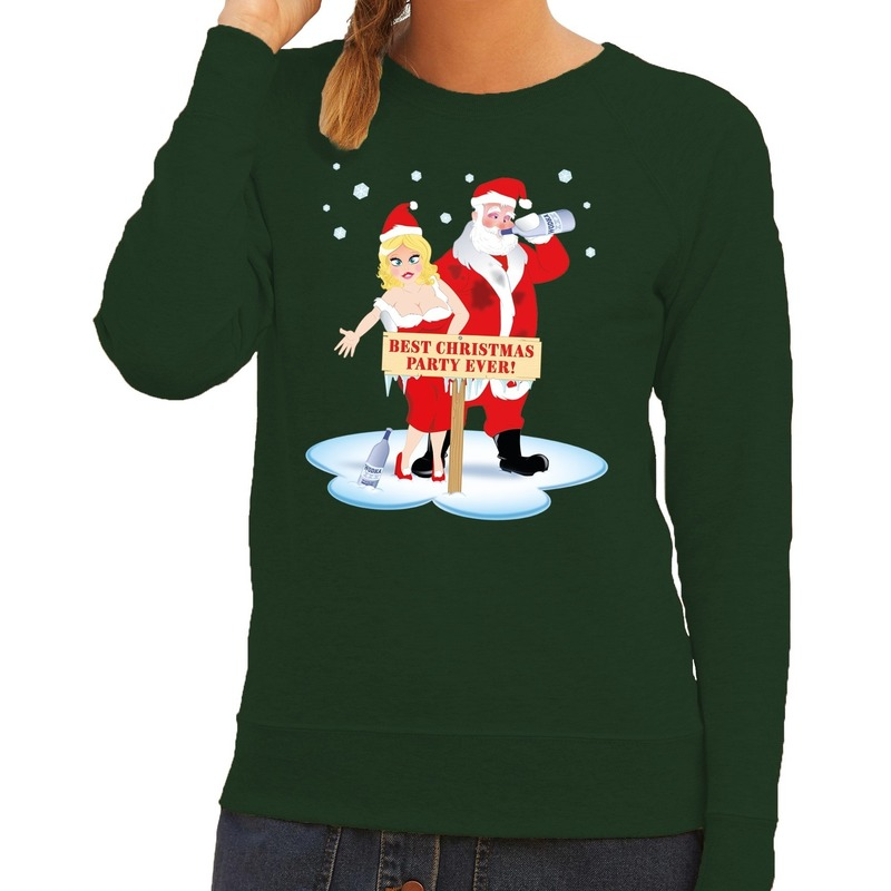 Foute kersttrui groen met een dronken kerstman en zijn vrouw voor dames XL (42) Groen