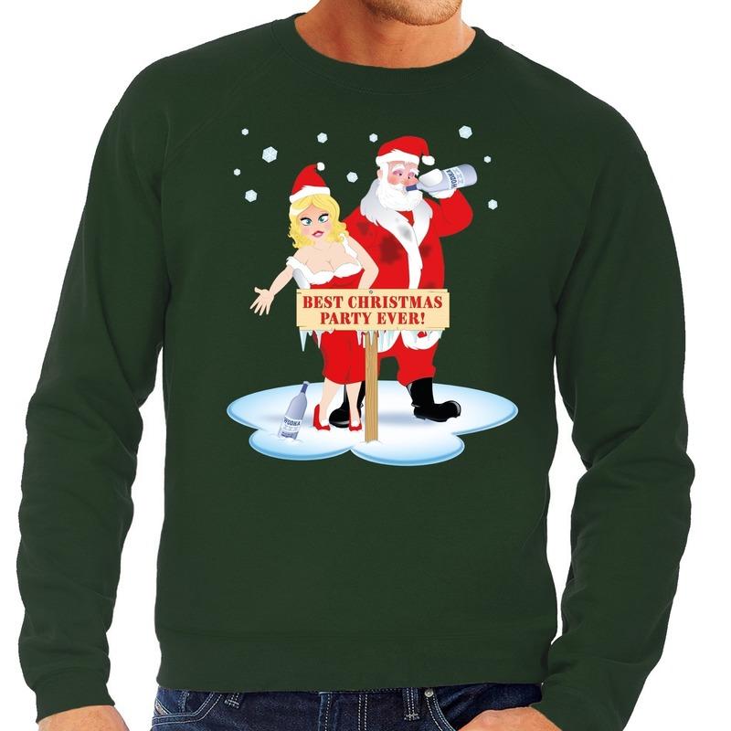 Foute kersttrui groen met een dronken kerstman en zijn vrouw voor heren L (52) Groen
