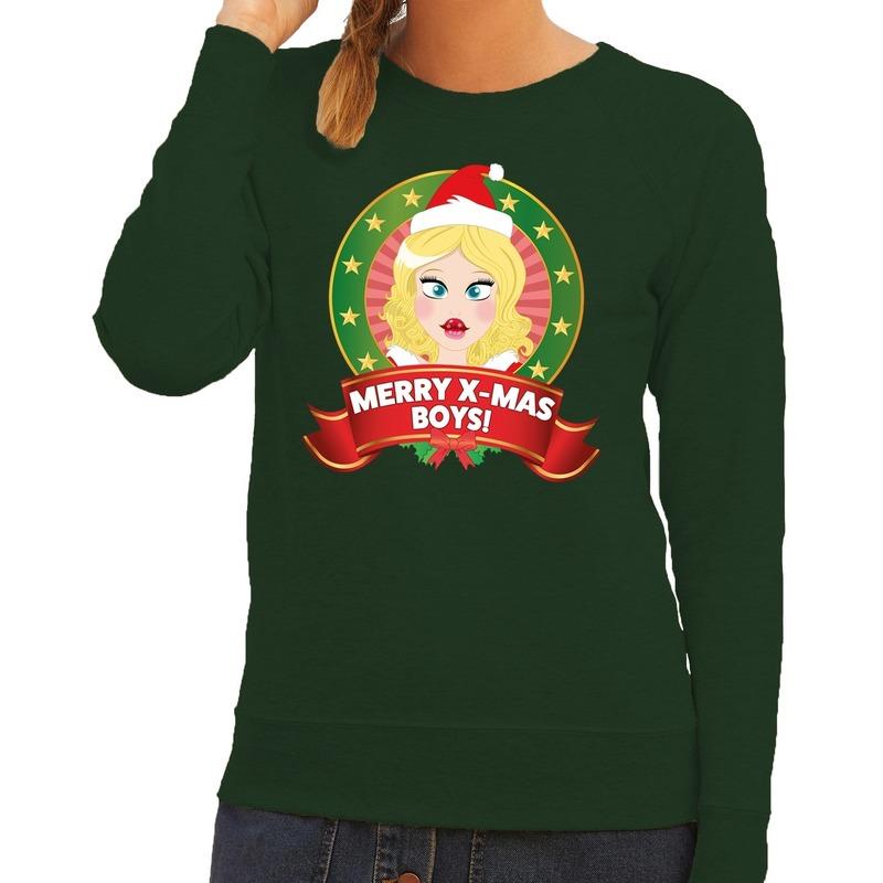 Foute kersttrui groen met kerstvrouwtje voor dames 2XL (44) Groen