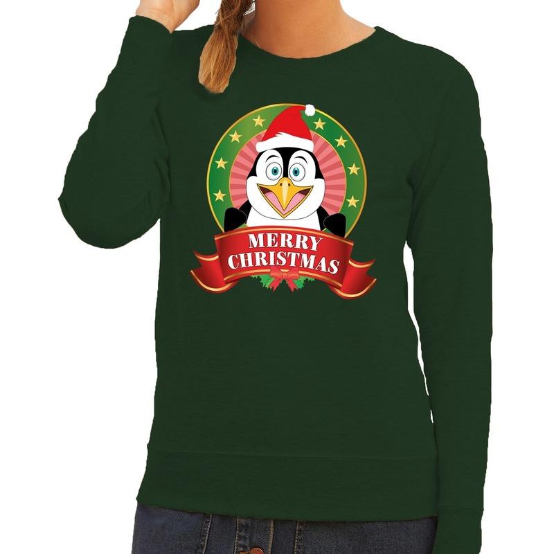 Foute kersttrui groen met pinguin voor dames XL (42) Groen