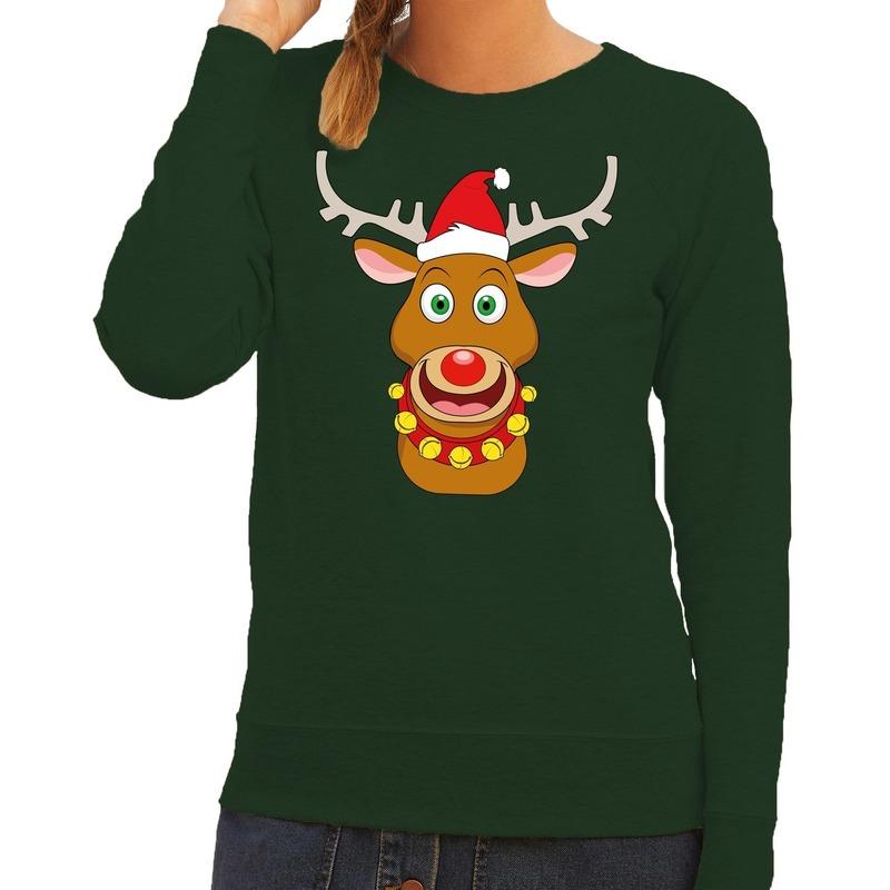 Foute kersttrui groen met Ruldolf het rendier met rode muts voor dames L (40) Groen