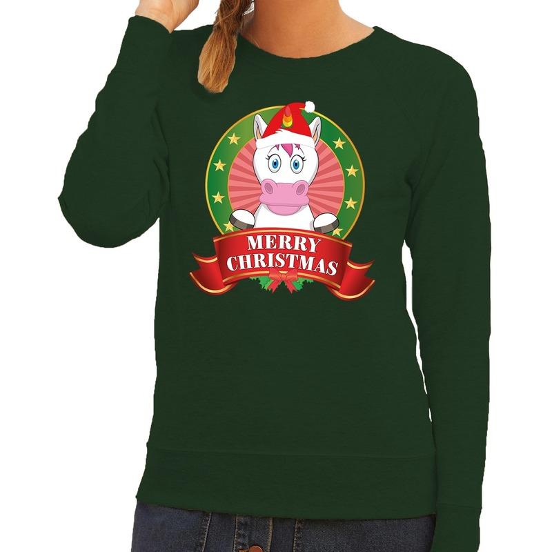 Foute kersttrui groen met unicorn voor dames S (36) Groen