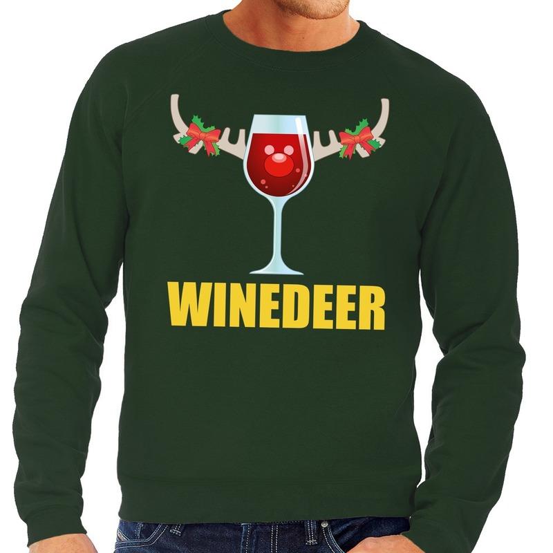 Foute kersttrui groen met wijntje heren M (50) Groen