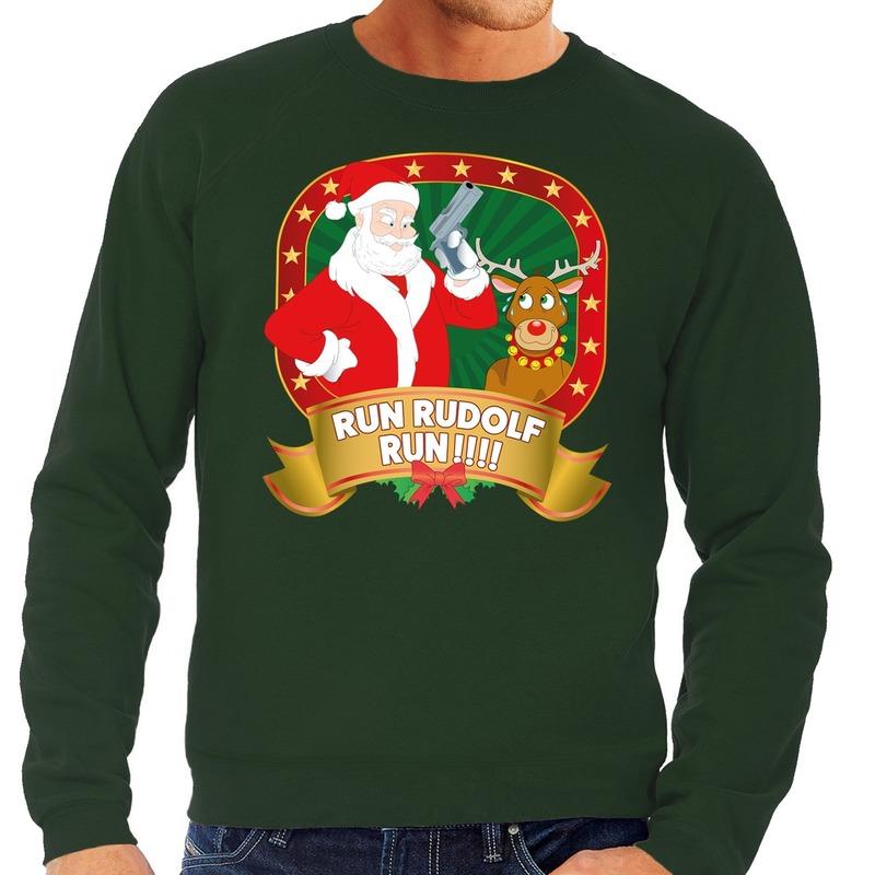 Foute kersttrui groen Rudolph en Kerstman met pistool heren XL (54) Groen