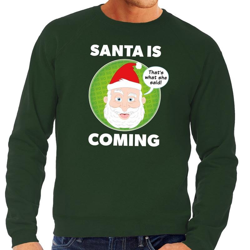 Foute kersttrui groen Santa is coming voor heren L (52) Groen