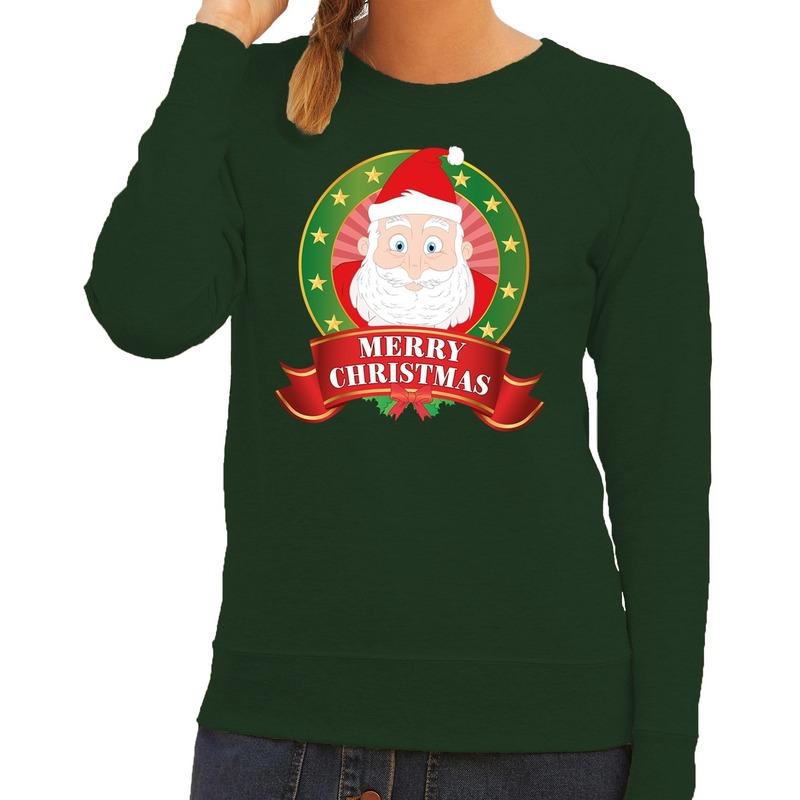 Foute kersttrui groen Santa Merry Christmas voor dames 2XL (44) Groen