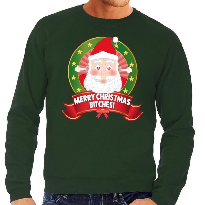 Foute kersttrui groen verliefde Kerstman heren L (52) Groen