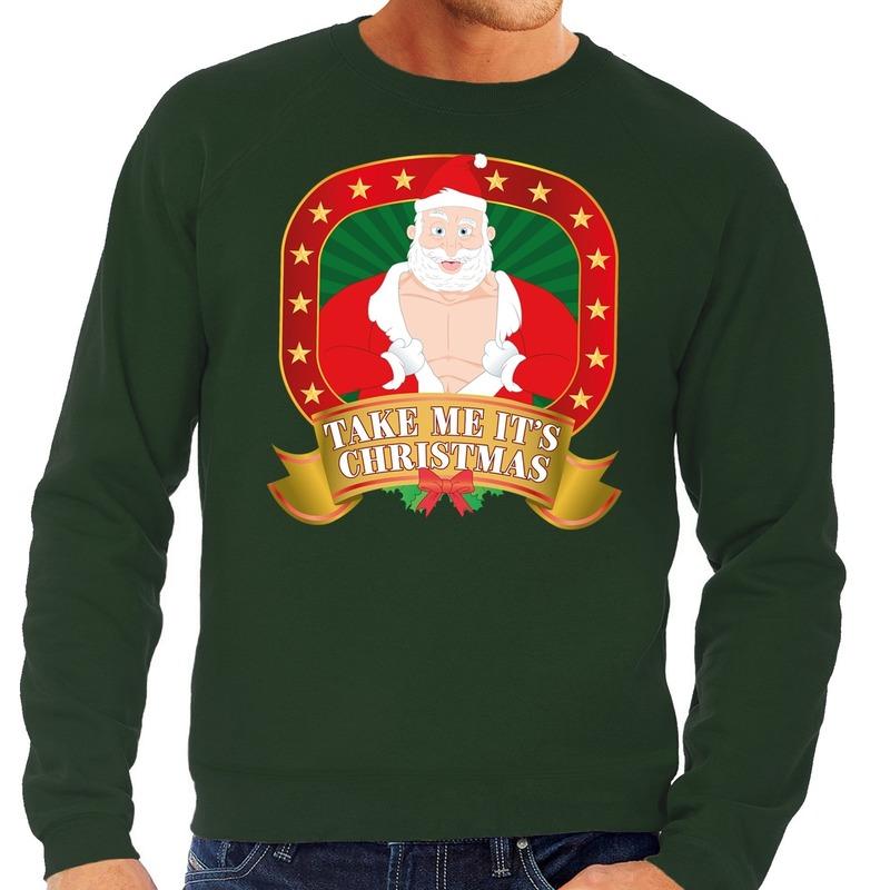 Foute kersttrui groen vieze kerstman heren L (52) Groen