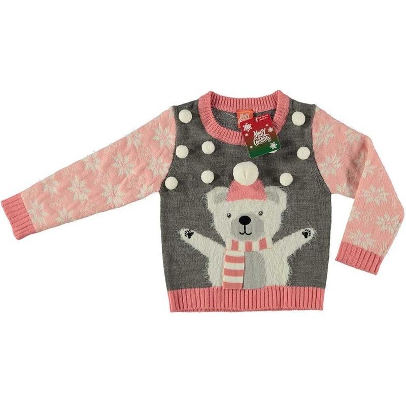 Foute kersttrui ijsbeer grijs voor meisjes maat 152/164 One size -