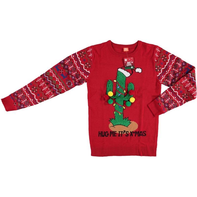 Foute kersttrui kerstcactus voor dames en heren M Rood