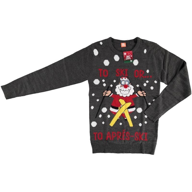 Foute kersttrui Kerstman op skis voor dames en heren XL Grijs
