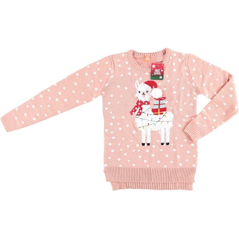 Foute kersttrui lama/alpaca roze voor vrouwen L Roze
