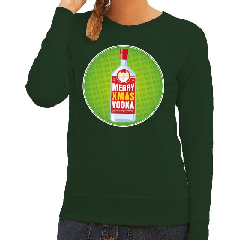 Foute kersttrui Merry x-mas Vodka groen voor dames M (38) Groen