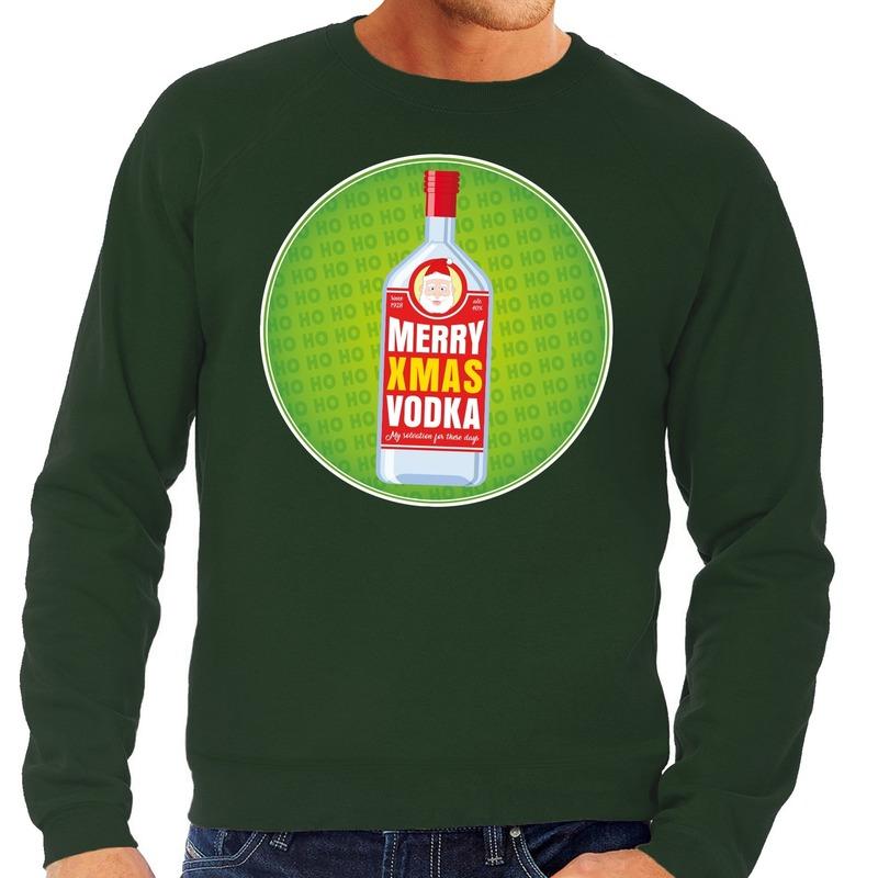 Foute kersttrui Merry x-mas Vodka groen voor heren S (48) Groen