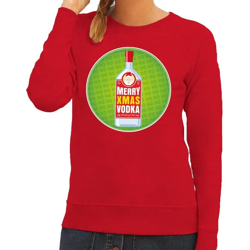 Foute kersttrui Merry x-mas Vodka rood voor dames S (36) Rood
